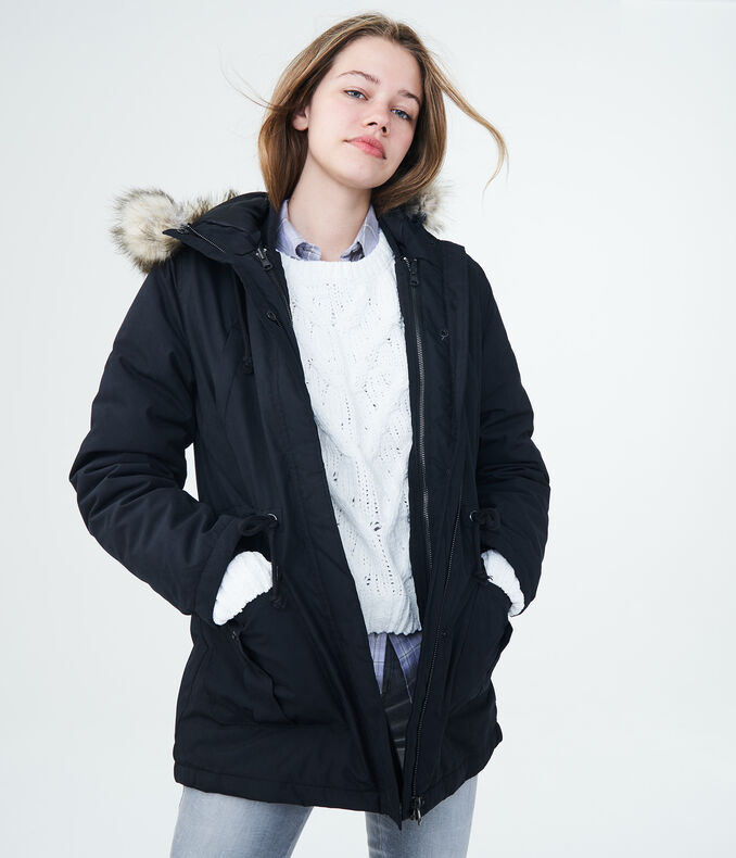 Solid 3-in-1 Built-Up Hooded Parka