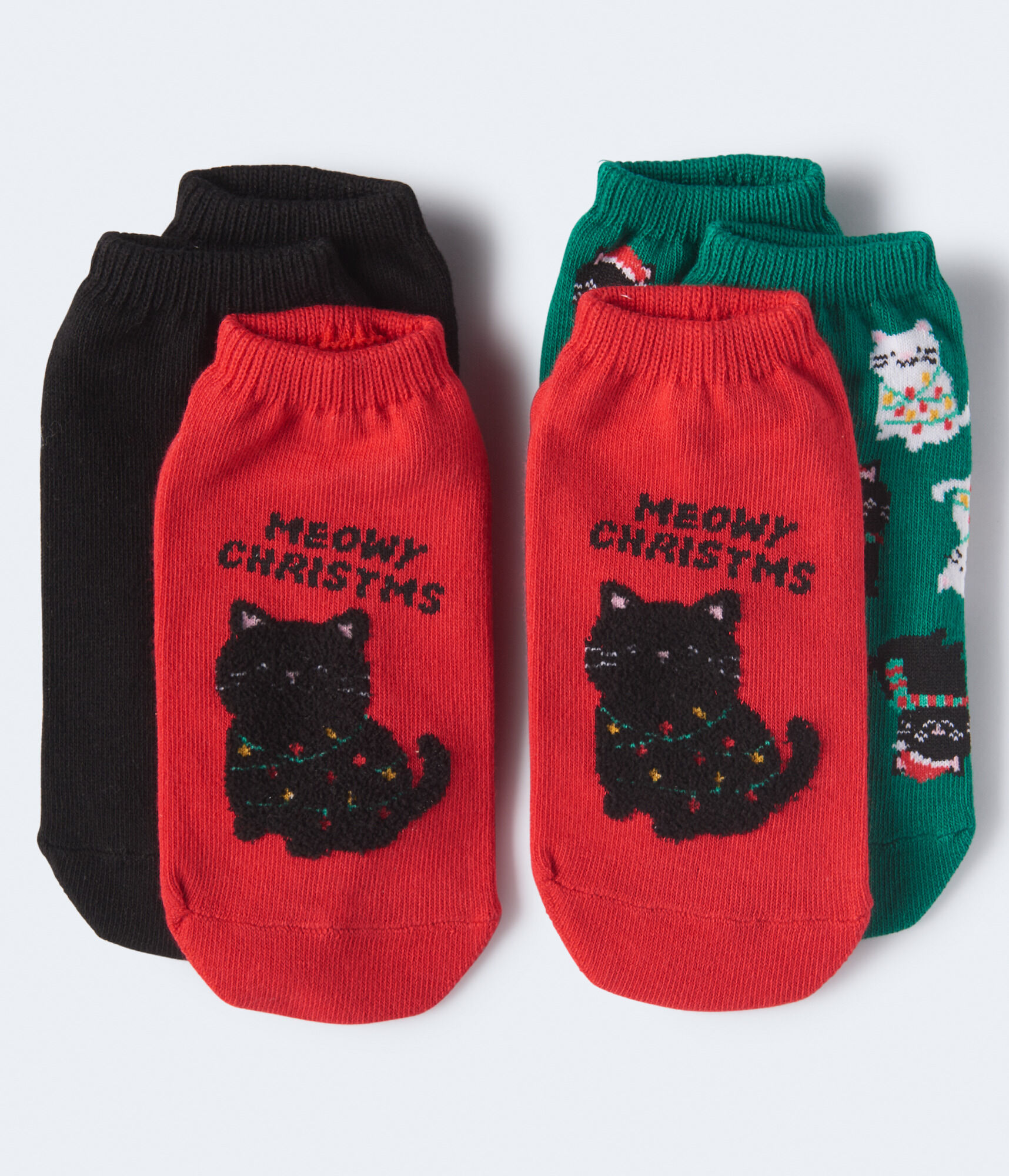 Meowy Christmas Ankle Sock 3-Pack***