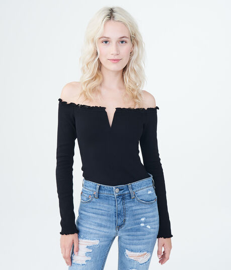 Long Sleeve Lettuce-Trim V-Wire Off-The-Shoulder Top