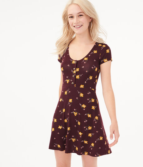 Seriously Soft Floral Scoop-Neck Fit & Flare Dress