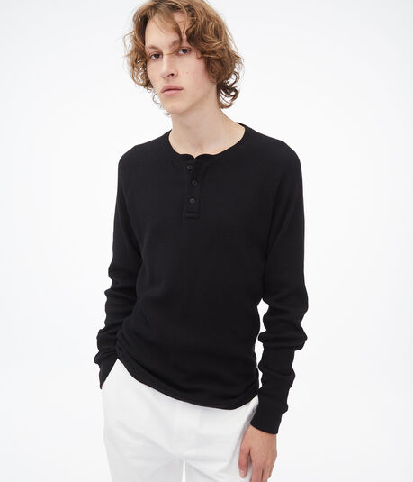 Long Sleeve Solid Thermal Henley Tee
