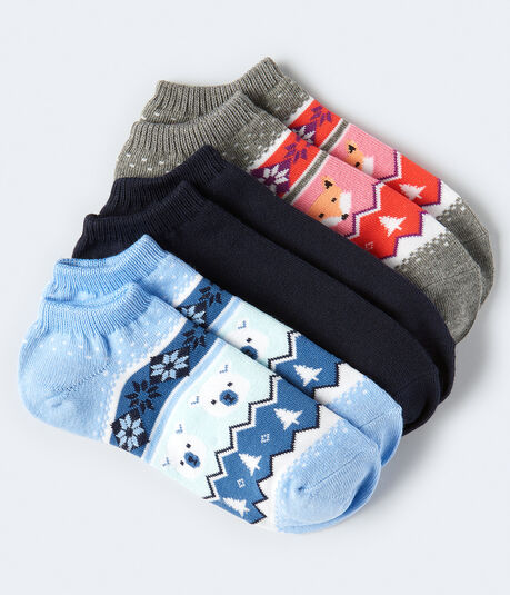 Fair Isle Critters Ankle Sock 3-Pack***