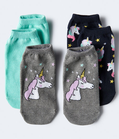 2-Pack Unicorn & Solid Ankle Socks***