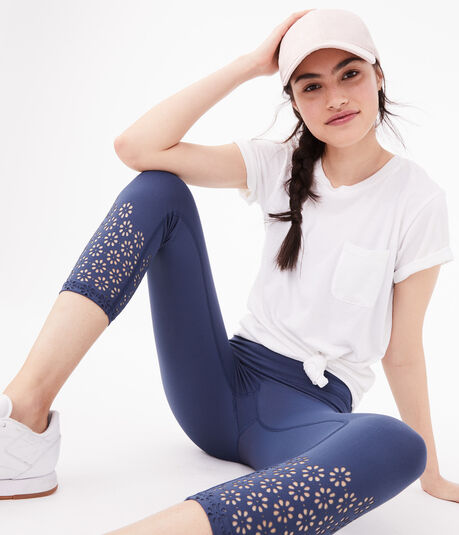Laser-Cut Crop Leggings