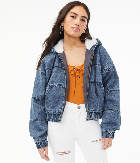 Denim Sherpa Hooded Cropped Jacket