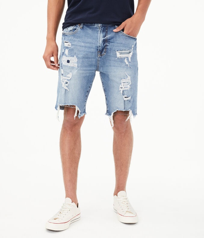 Light Wash Super Destroyed Stretch Denim Cutoff Shorts