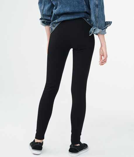 High-Waisted Solid Stretch Fleece Leggings