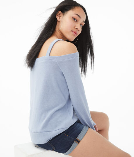 Long Sleeve Cold-Shoulder Sweater-Knit Top***
