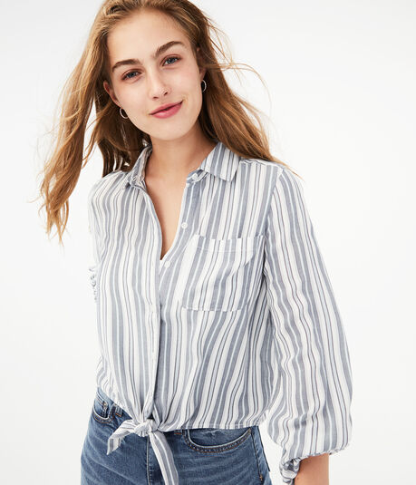 Striped Tie-Front Button-Down Shirt