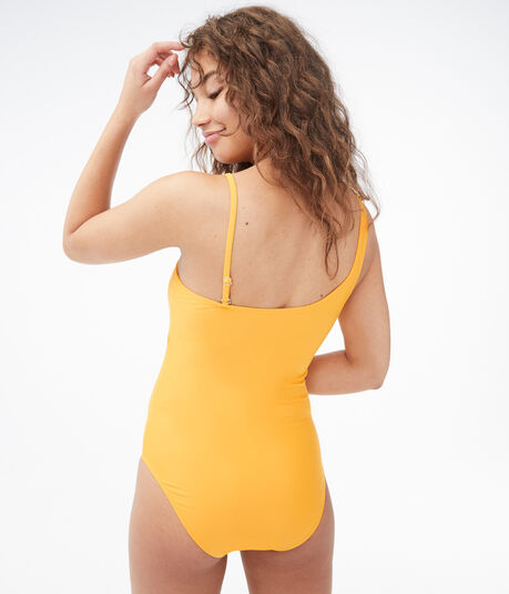 Solid One-Shoulder One-Piece Swimsuit