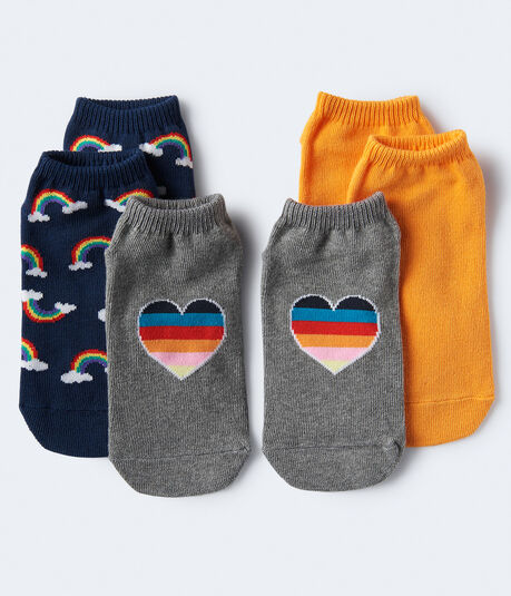 3-Pack Heart, Rainbow & Solid Ankle Socks