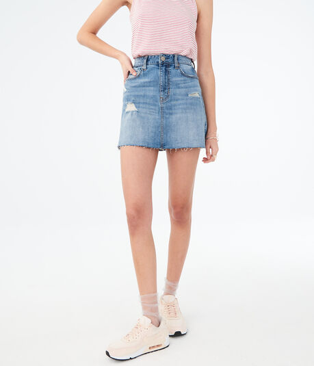 High-Waisted Medium Wash Distressed Jean Skirt