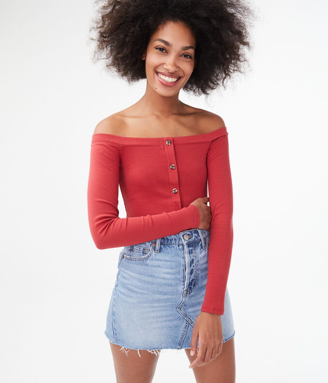 Seriously Soft Button-Front Off-The-Shoulder Top***