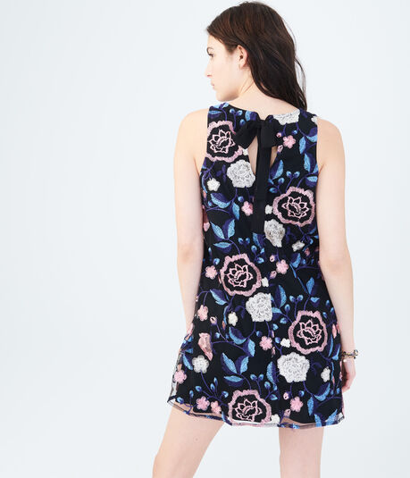 Floral Embroidered Tie-Back Shift Dress