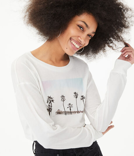 Long Sleeve Paradise Pic Super-Cropped Graphic Tee***