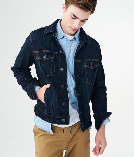 Dark Wash Stretch Denim Trucker Jacket