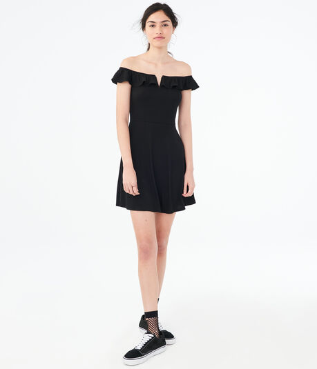Solid V-Wire Off-The-Shoulder Fit & Flare Dress***