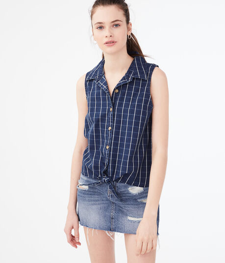 Checked Sleeveless Camp Shirt