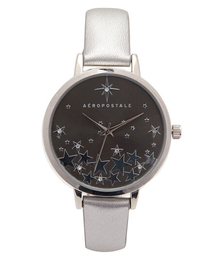 Faux Leather Stars Analog Watch