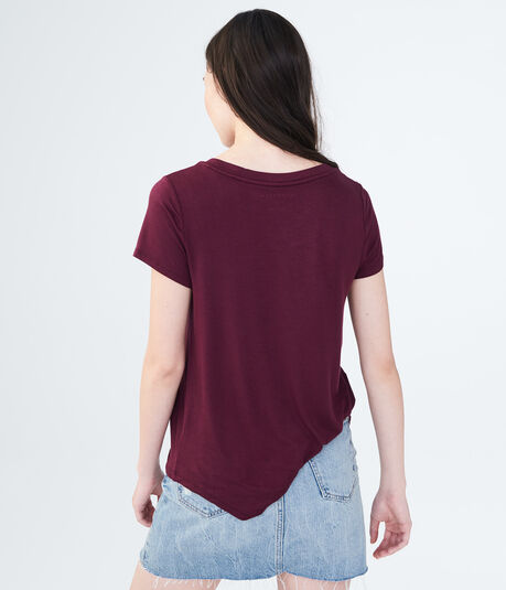 Solid Slashed Crew Top