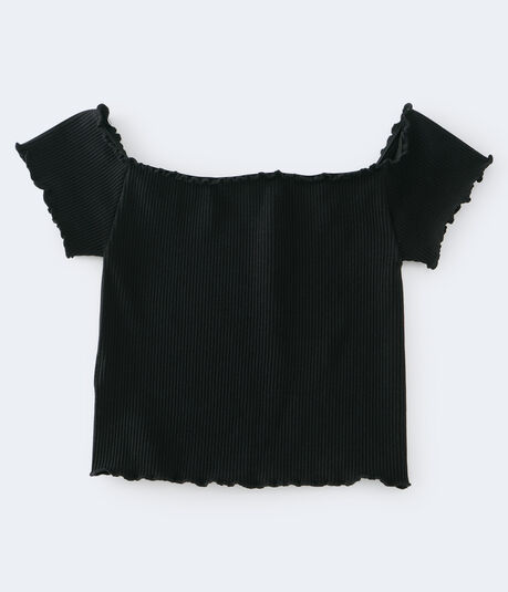 Ribbed Off-The-Shoulder Seamless Top