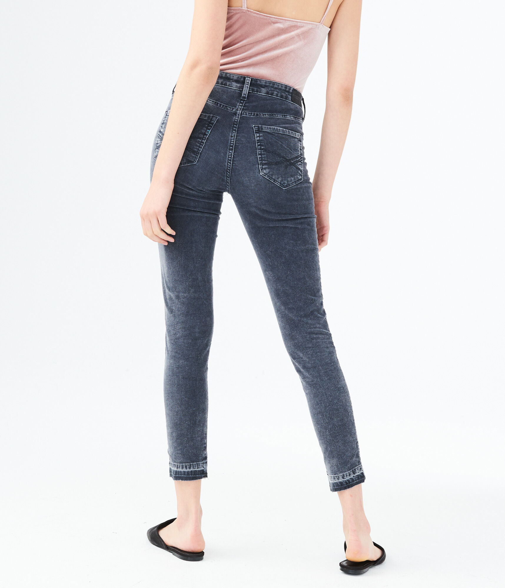 bde12bfcde80d5 High-Waisted Corduroy Ankle Jegging