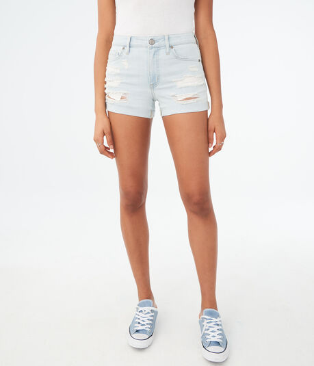 Seriously Stretchy High-Waisted Light Wash Destroyed Denim Midi Shorts