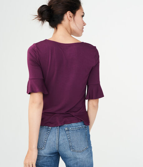Solid Ruched Peplum Top