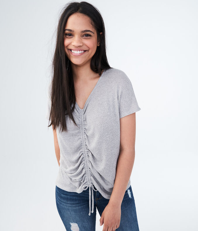 Solid Ruched Tie-Front Top