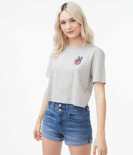Americana Peace Sign Cropped Boxy Graphic Tee