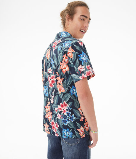 Rainforest Floral Button-Down Resort Shirt