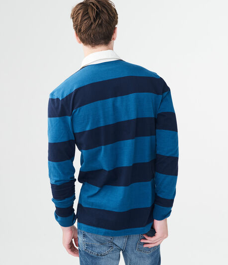 Long Sleeve Wide Stripe Rugby Polo