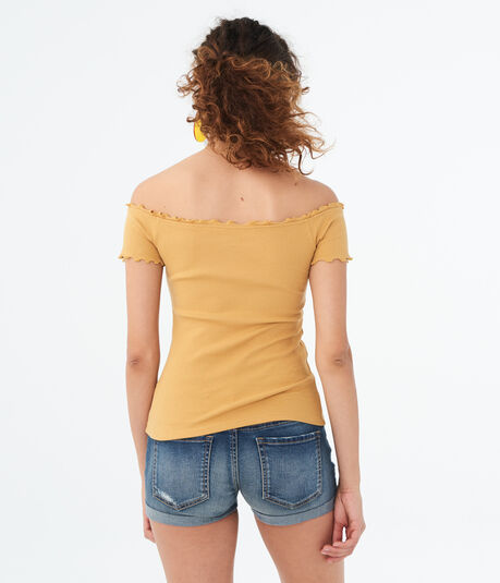 Seriously Soft Lettuce-Trim Off-The-Shoulder Top