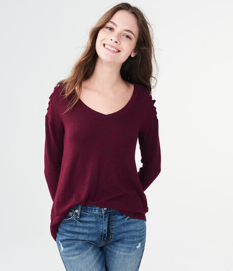 Long Sleeve Lattice-Sleeve V-Neck Top***