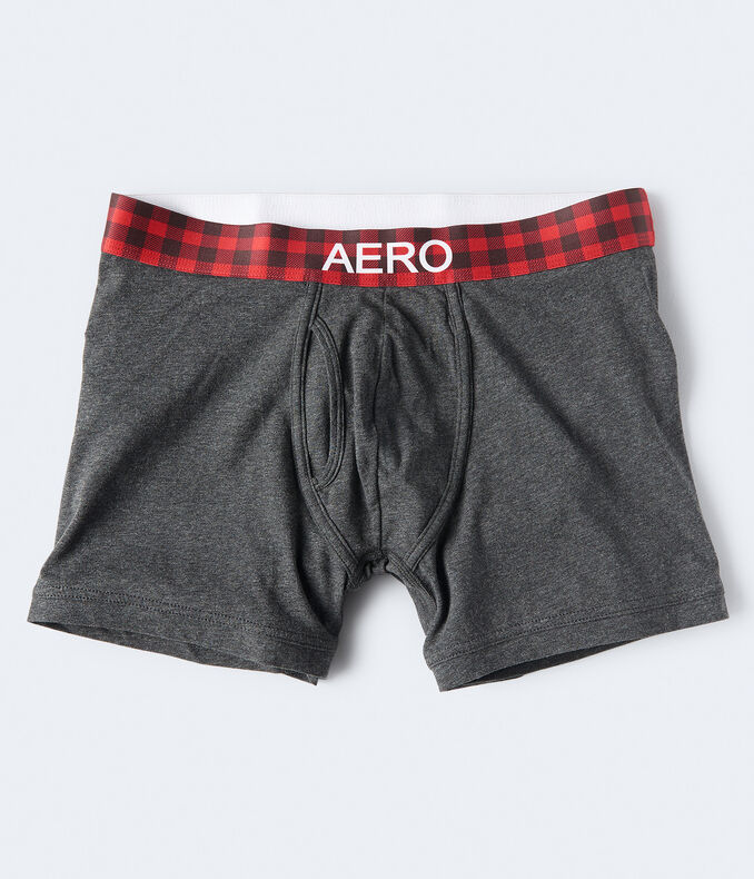 Solid Plaid-Waistband Knit Boxer Briefs
