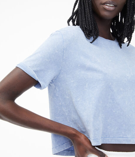 Denim Wash Cropped Boxy Crew Tee