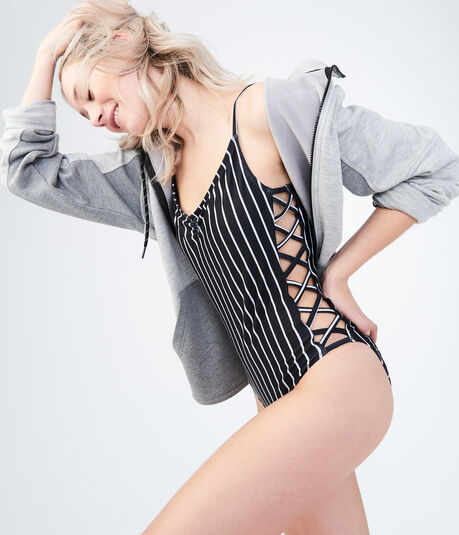 LLD Stripe Laced One-Piece Swimsuit***