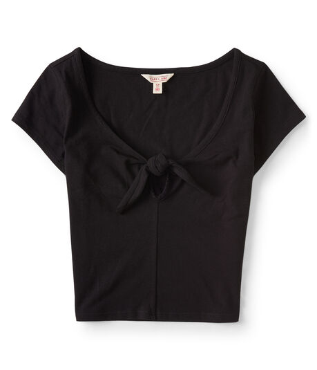 Cape Juby Solid Keyhole Tie Cropped Bodycon Top