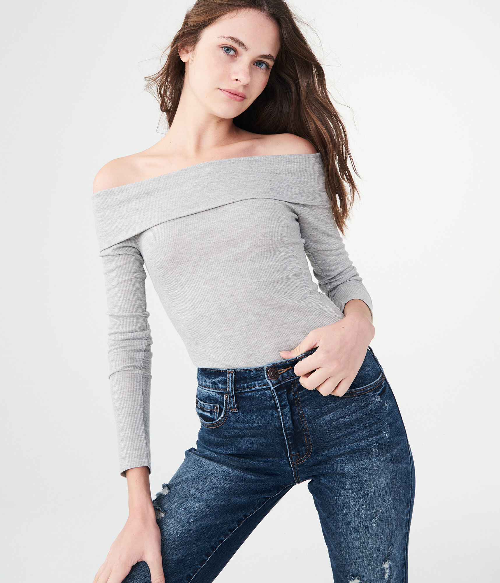 8b05ce34aef110 Long Sleeve Heathered Folded Off-The-Shoulder Top