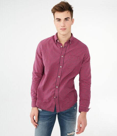 Long Sleeve Gingham Woven Shirt