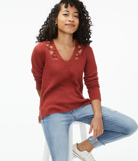 Laced-Up Shoulder V-Neck Sweater