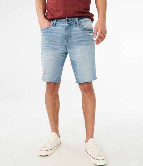 Flex Effects Light Wash Destroyed Denim Cutoff Shorts