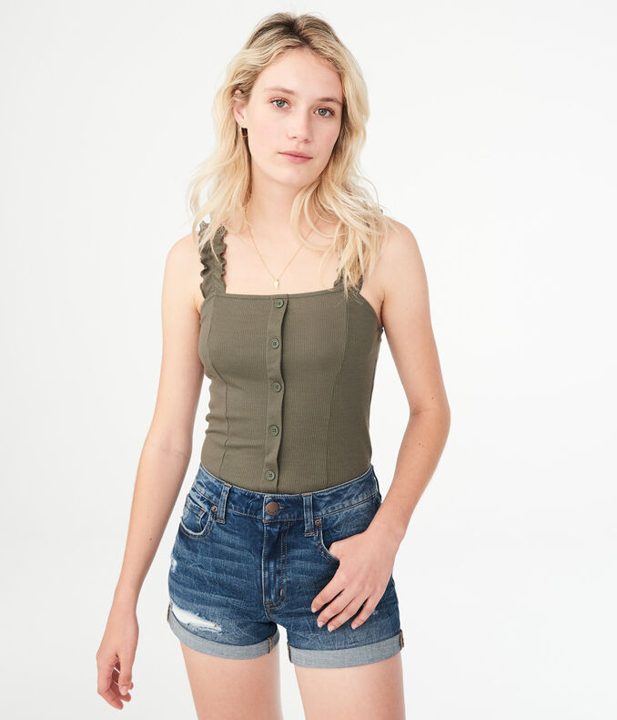 Solid Ruffle-Strap Tank