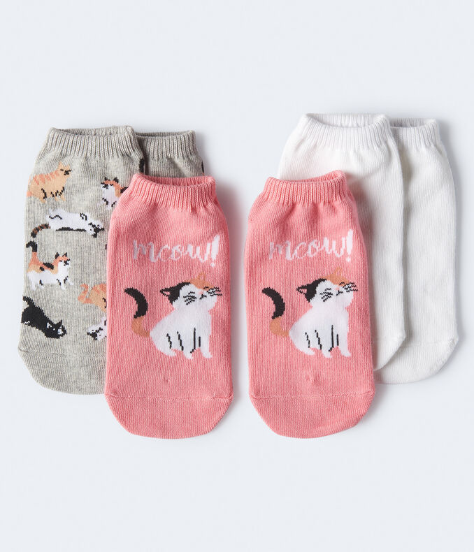 3-Pack Cat & Solid Ankle Socks