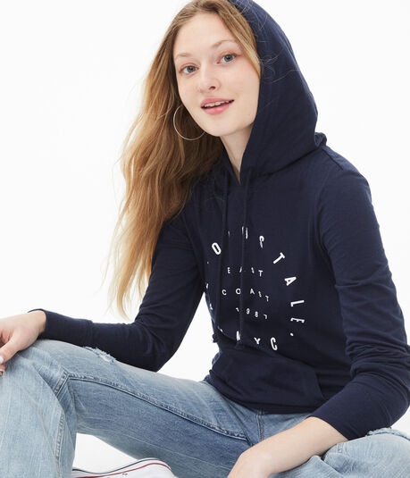Long Sleeve Aeropostale NYC Circle Hooded Tee***