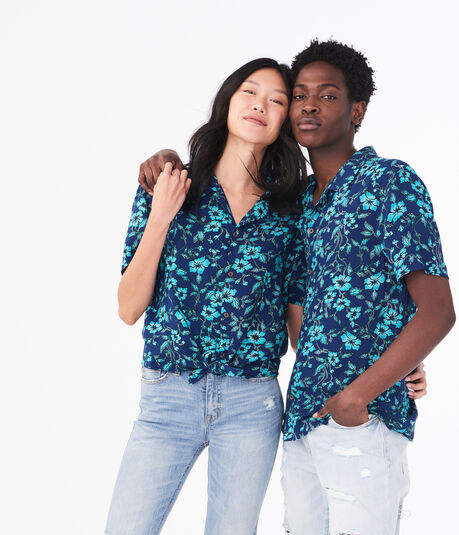 Aero One Luau Floral Button-Down Shirt
