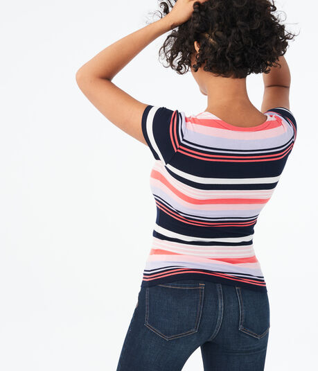 Seriously Soft Striped Square-Neck Bodycon Top