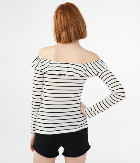 Long Sleeve Striped Ruffle V-Wire Off-The-Shoulder Top