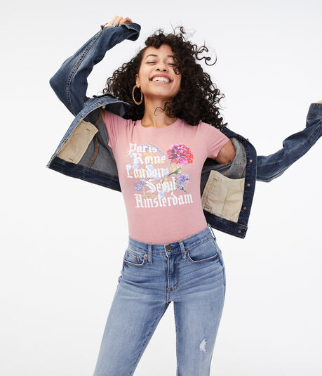 Floral City Names Graphic Tee