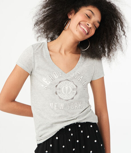 Aeropostale New York V-Neck Graphic Tee